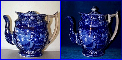 Dark blue Staffordshire transferware teapot