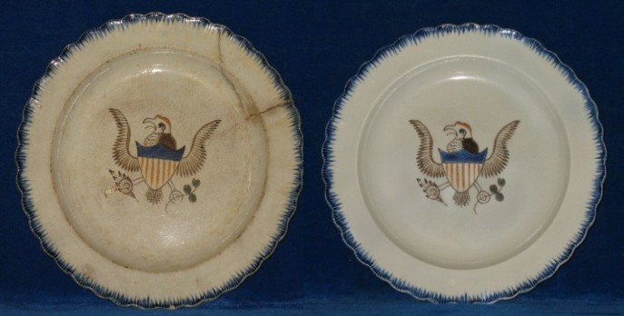 1800's blue feather edge Eagle plate